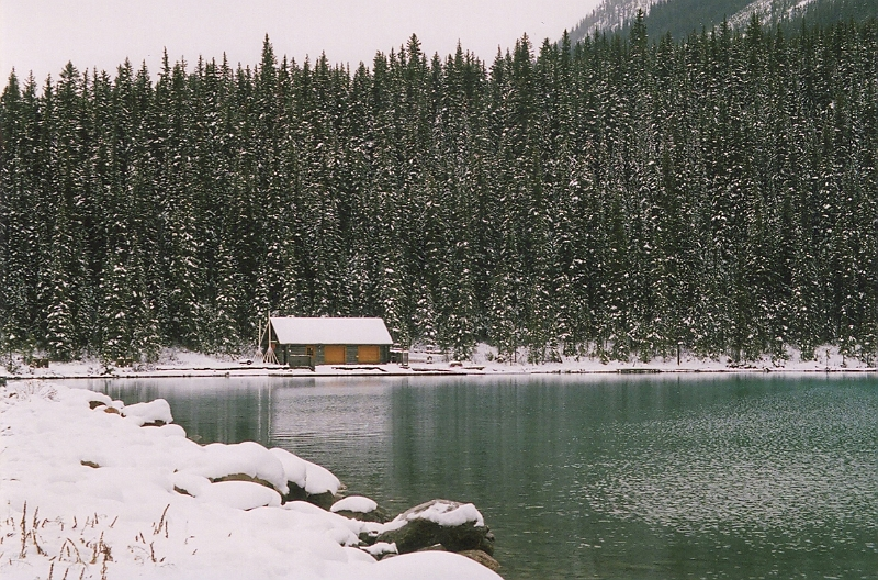Canoe Hut at Lake Louise in November