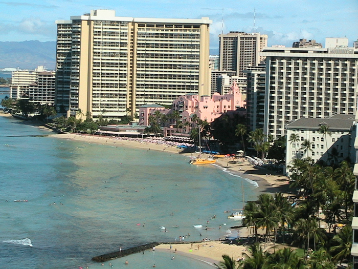 Waikiki Beach and downtown - Waikiki, Honolulu