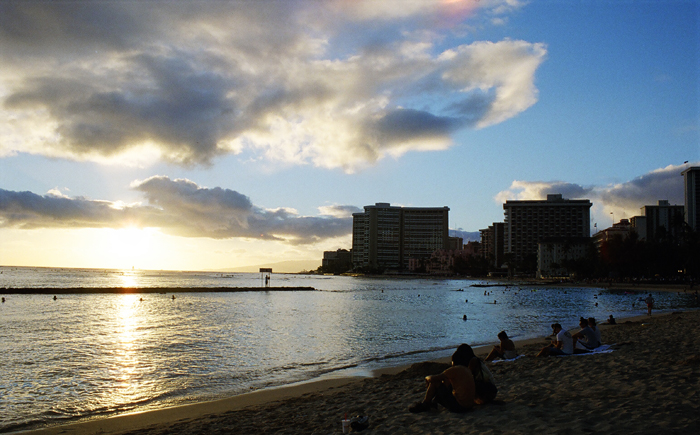 Sunset over Waikiki Beach - Honolulu