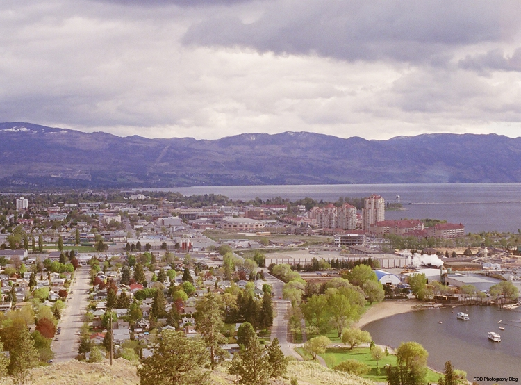 Sun shining just after a rainstorm over Kelowna, view from Knox Mountain