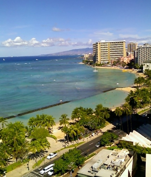 Waikiki Beach & downtown Honolulu